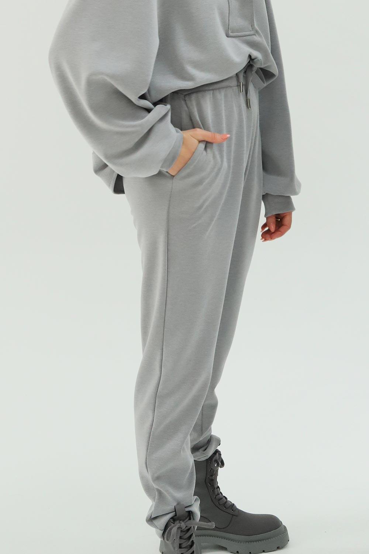 Yumuşak Dokulu Modal Beli Lastikli Açık Gri Kadın Denim / Pantolon