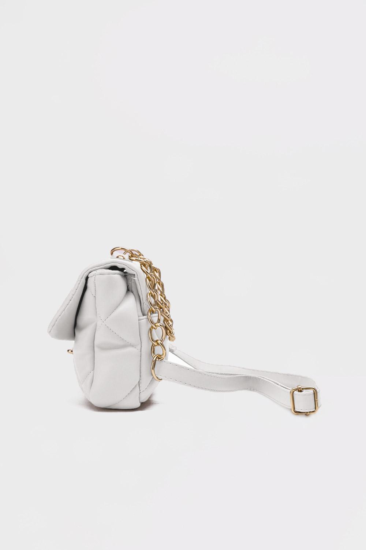 Adel Mini Kare Kapitone Beyaz Kadın Çanta