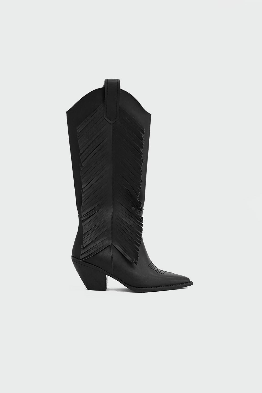 Arizon Püskül Detaylı Sivri Burun Siyah Kadın Çizme