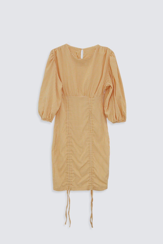 BALON KOL KARELİ MİNİ Sarı Kadın Elbise