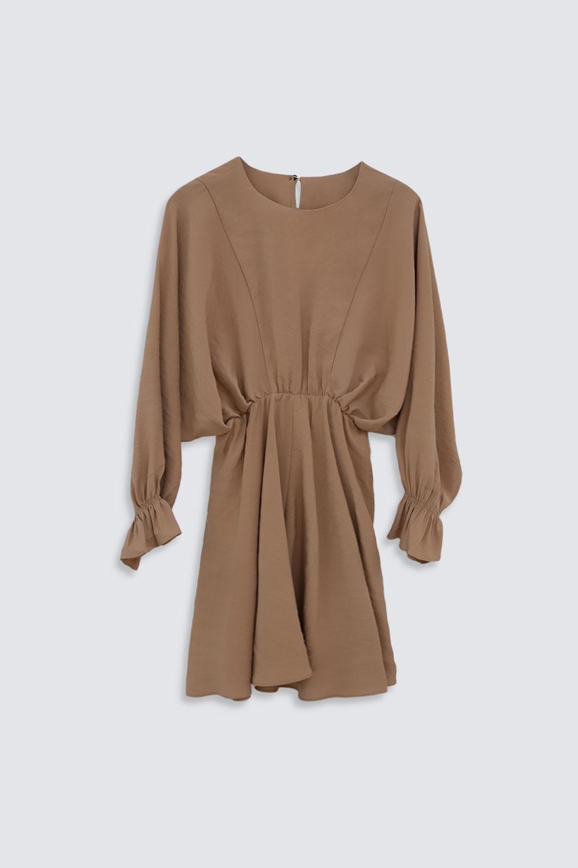Belden Lastikli Yarasa Kol Klasik Mini Camel Kadın Elbise