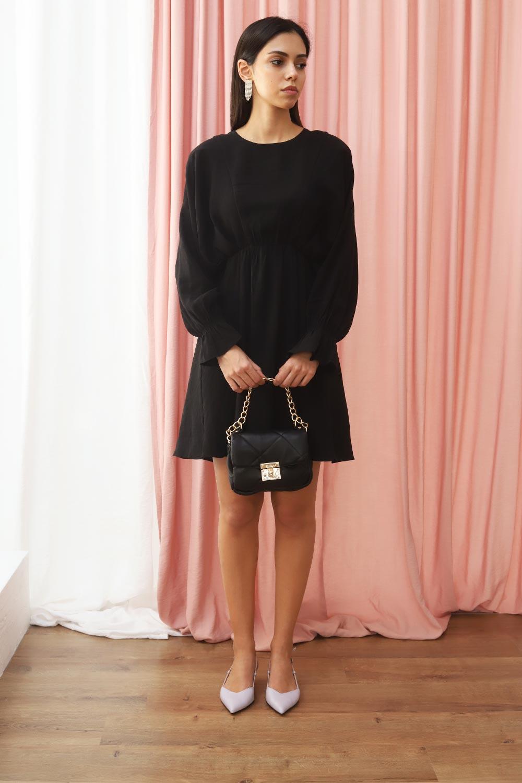 Belden Lastikli Yarasa Kol Klasik Mini Siyah Kadın Elbise