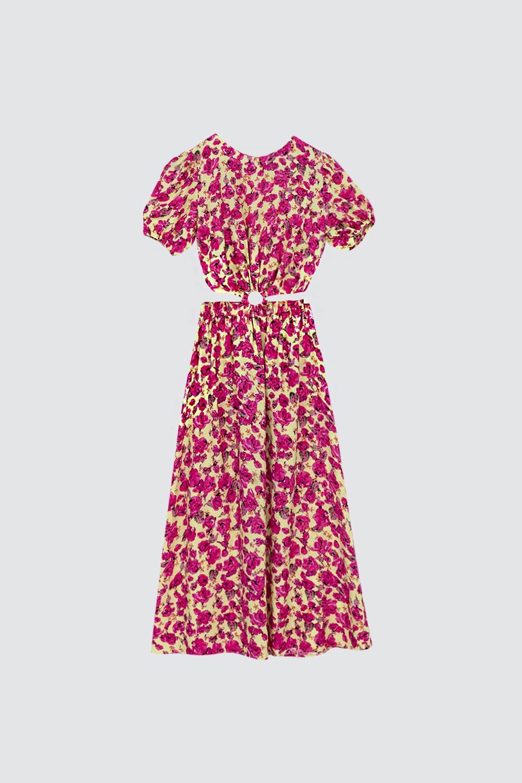 Beli Dekolteli Çiçekli Renkli Kadın Elbise
