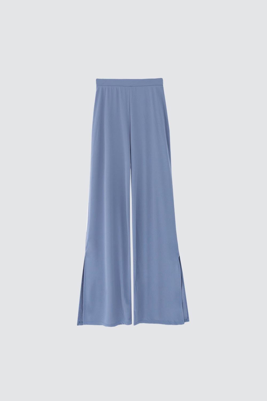 Beli Lastikli Bol Paça Mavi Kadın Denim / Pantolon