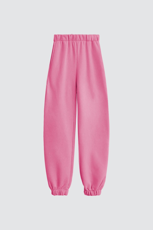 Beli Lastikli Jogger Pantolon Pembe Kadın Denim / Pantolon