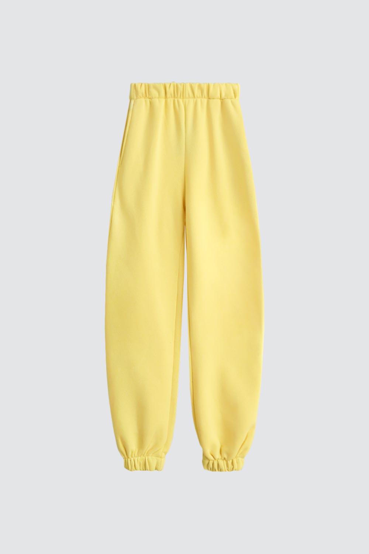 Beli Lastikli Jogger Pantolon Sarı Kadın Denim / Pantolon