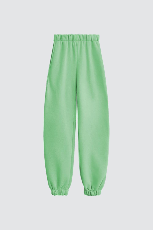 Beli Lastikli Jogger Pantolon Yeşil Kadın Denim / Pantolon