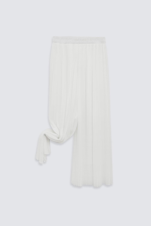 Beli Lastikli Piliseli Beyaz Kadın Denim / Pantolon