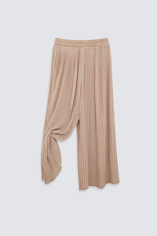 Beli Lastikli Piliseli Cream Kadın Denim / Pantolon