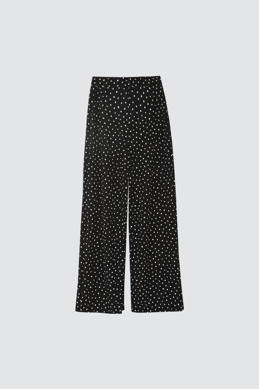 Beli Lastikli Puantiyeli Siyah Kadın Denim / Pantolon