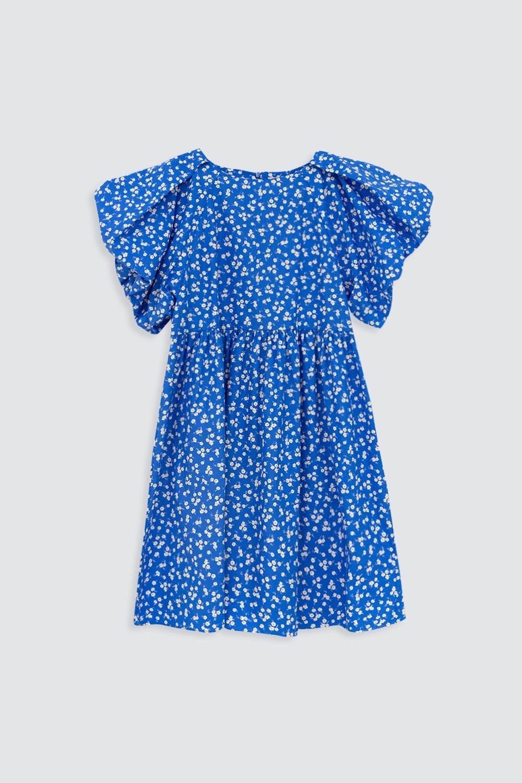Bisiklet Yaka Çiçek Desenli Mavi Kadın Elbise
