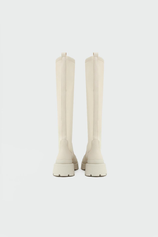 Bloom Tırtıklı Taban Scuba Kumaş Düz Bej Kadın Çizme
