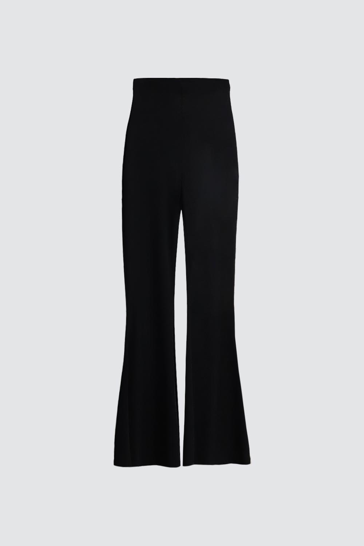 İspanyol Paça Beli Lastikli Siyah Kadın Denim / Pantolon
