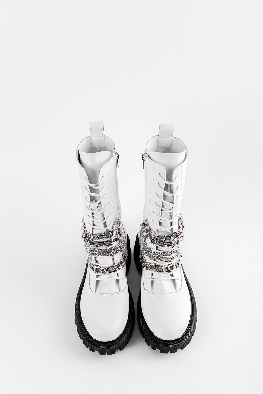 Evelina Zincir Detay Bağcıklı Beyaz Kadın Bot