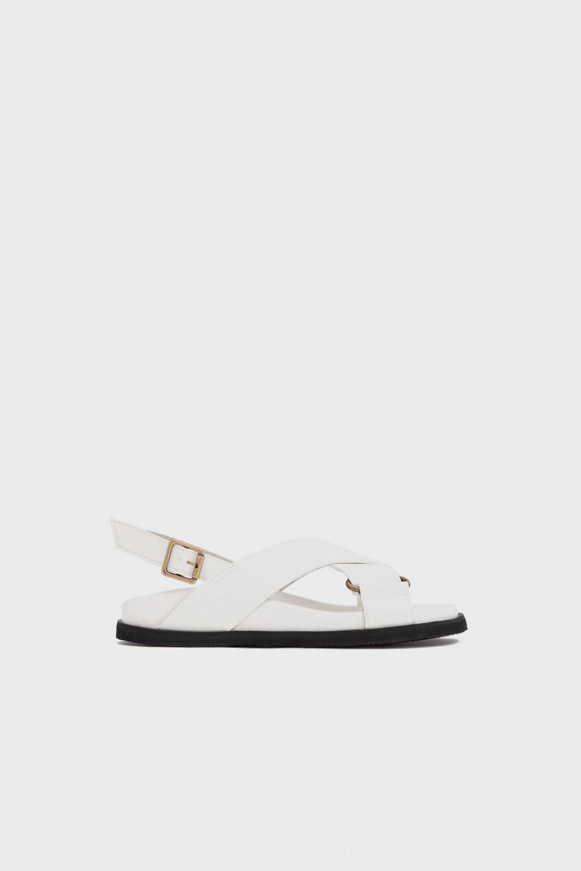 Brendy Çapraz Bantlı Beyaz Kadın Sandalet