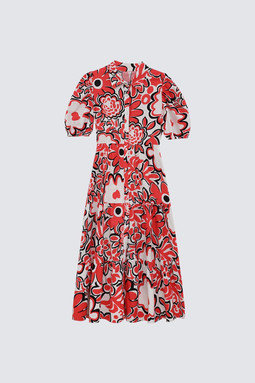 Büyük Çiçekli Kolu Lastikli Kırmızı Kadın Elbise