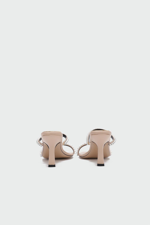 Calipso Taş Detaylı İnce Bantlı Nude Kadın Topuklu