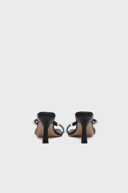 Calipso Taş Detaylı İnce Bantlı Siyah Kadın Topuklu