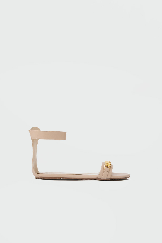 Cassie Gold Zincir Detaylı Tek Bantlı Nude Kadın Sandalet
