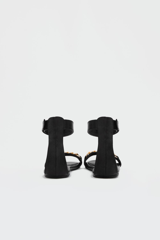 Cassie Gold Zincir Detaylı Tek Bantlı Siyah Kadın Sandalet