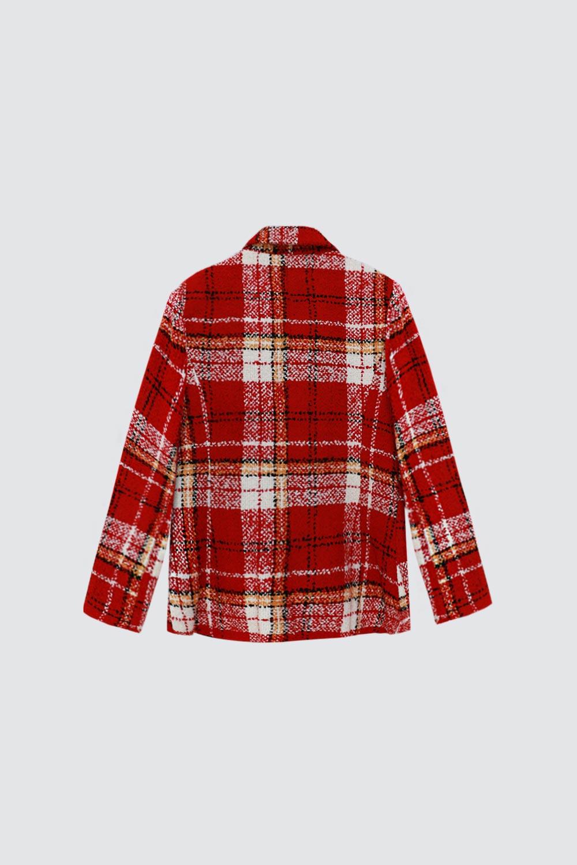 Ekose Desenli Düz Kesim Kırmızı Kadın Ceket