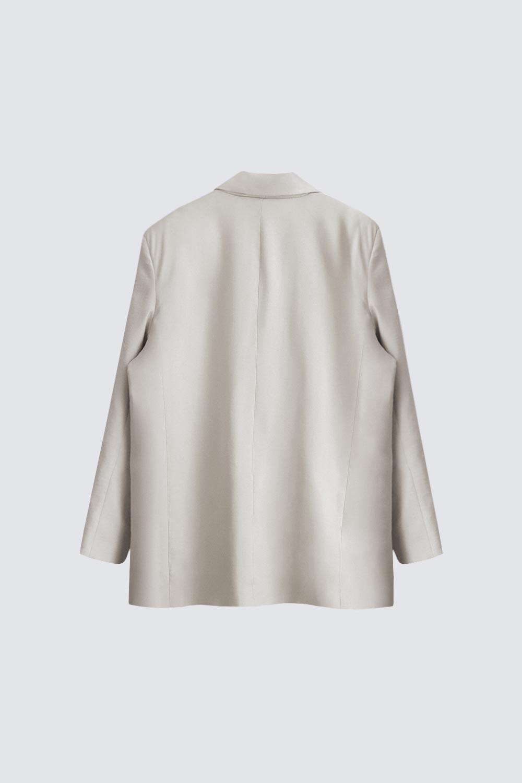Vatkalı Tek Düğmeli Oversize Bej Kadın Ceket
