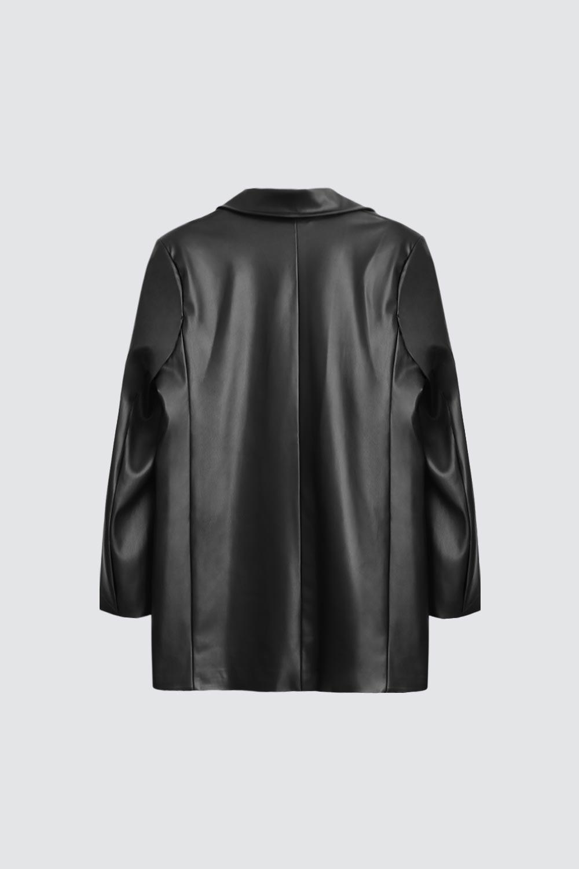 Deri Görünümlü Vatkalı Siyah Kadın Ceket