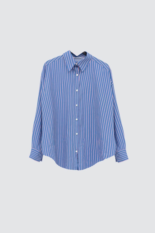 Çizgili Oversize Mavi Kadın Gömlek