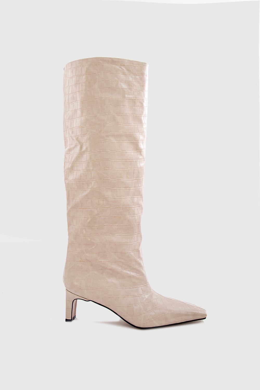 Alinna Croc Krok Desenli Küt Burun Topuklu Bej Kadın Çizme