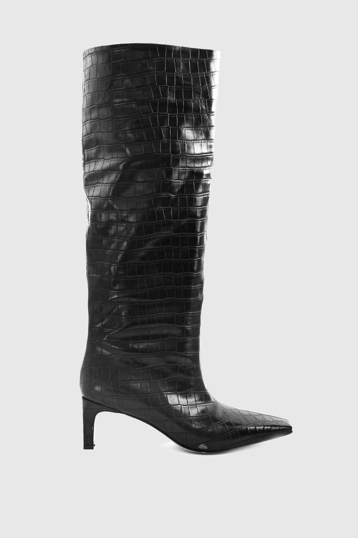 Alinna Croc Krok Desenli Küt Burun Topuklu Siyah Kadın Çizme