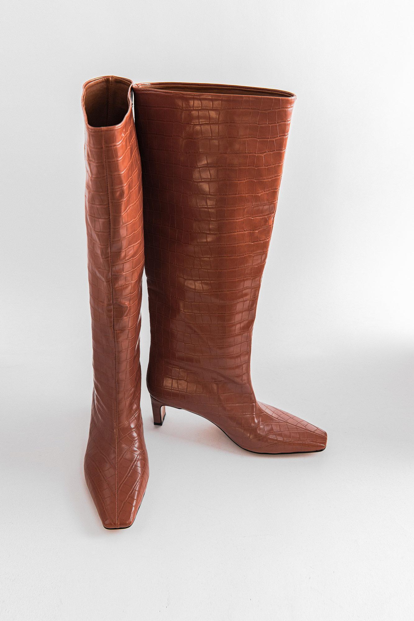Alinna Croc Krok Desenli Küt Burun Topuklu Taba Kadın Çizme