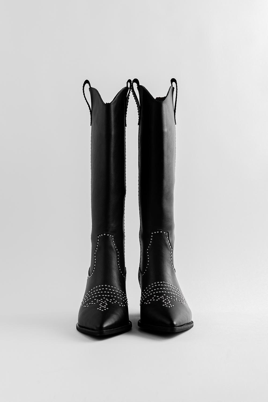 Blanca Trok Detaylı Sivri Burunlu Siyah Kadın Çizme