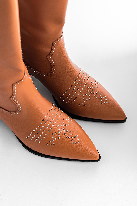 Blanca Trok Detaylı Sivri Burunlu Taba Kadın Çizme