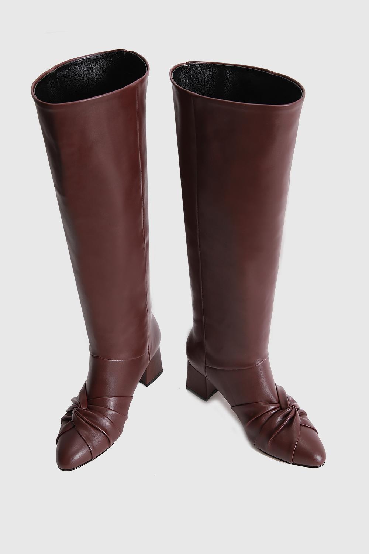 Dita Fiyonk Detaylı Oval Burun Uzun Bordo Kadın Çizme