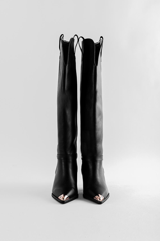 Edgar Burun Ucu Gold Detaylı Üst Detayı Açık Siyah Kadın Çizme