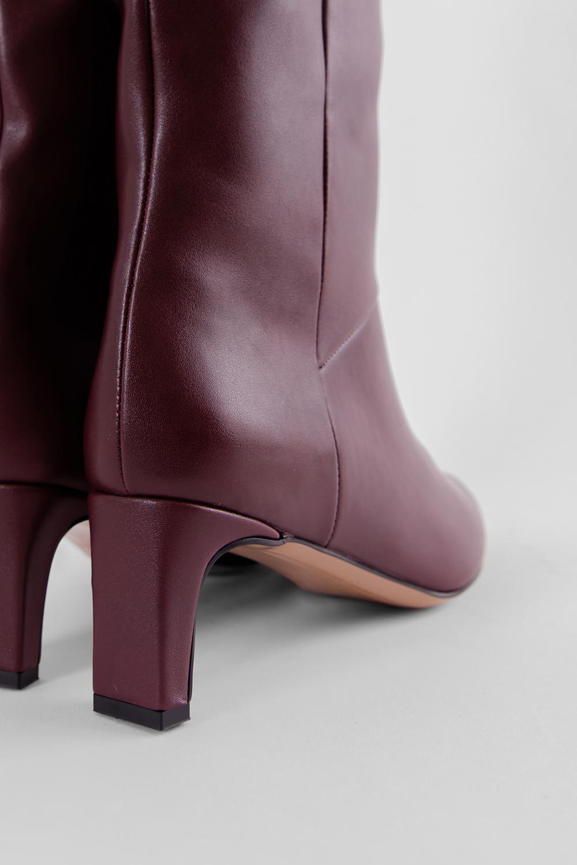 Elizabeth Burun Ucu Gold Detaylı Topuklu Bordo Kadın Çizme
