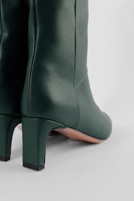 Elizabeth Burun Ucu Gold Detaylı Topuklu Koyu Yeşil Kadın Çizme