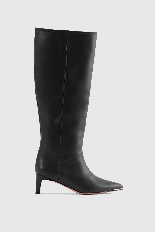 Elizabeth Burun Ucu Gold Detaylı Topuklu Siyah Kadın Çizme