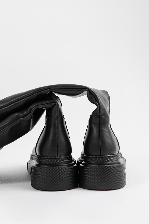 Evelia Tırtıklı Tabanlı Düz Siyah Kadın Çizme