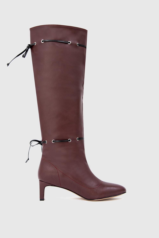 Jessica İp Detaylı Oval Burun Bordo Kadın Çizme