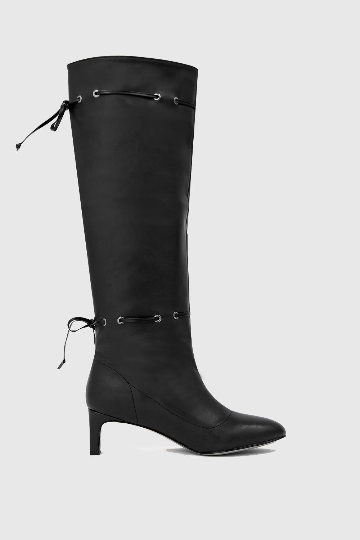 Jessica İp Detaylı Oval Burun Siyah Kadın Çizme