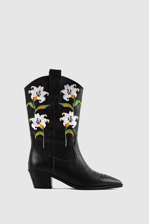 Manon Çiçek İşlemeli Kovboy Siyah Kadın Çizme