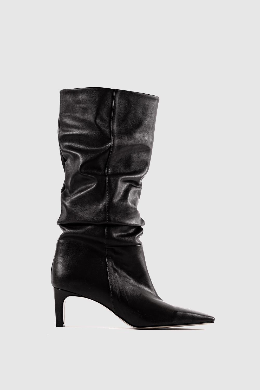 Violette Kendinden Büzgü Detaylı Siyah Kadın Çizme