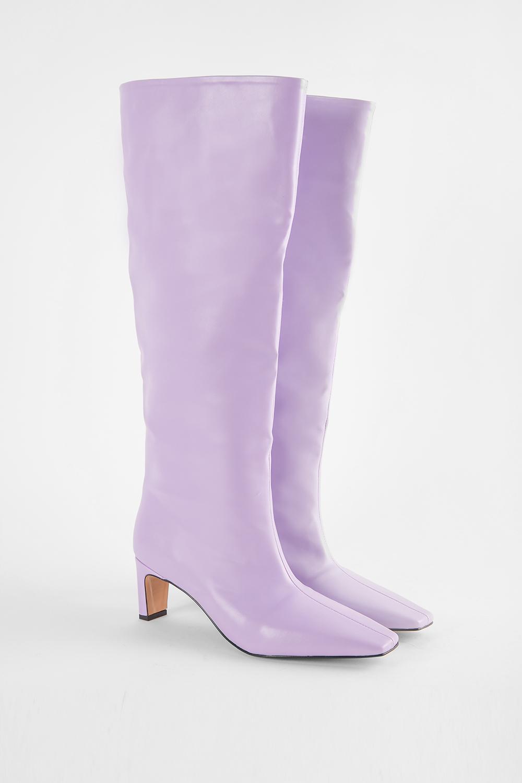 Wang Küt Burunlu Topuklu Lila Kadın Çizme