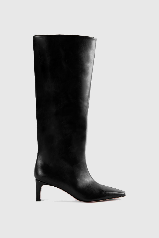 Wang Küt Burunlu Topuklu Siyah Kadın Çizme