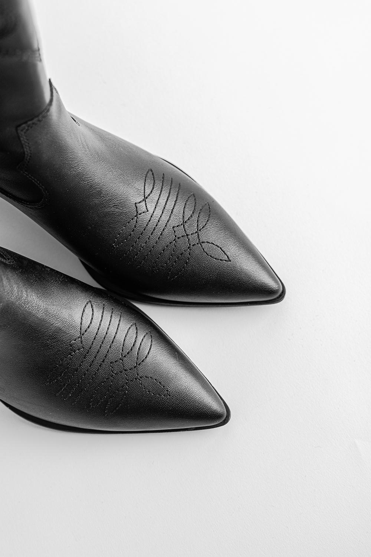 Wyatt Sivri Burun Nakışlı Kovboy Siyah Kadın Çizme