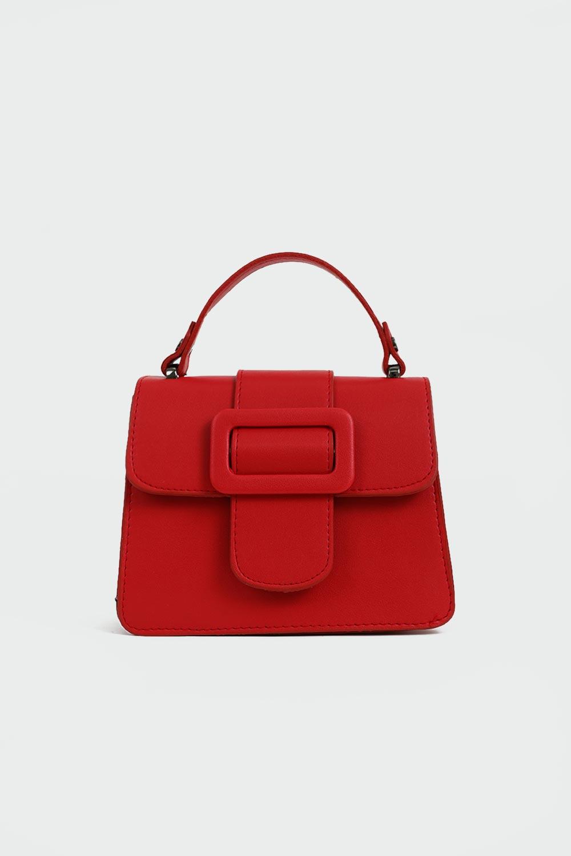 Clair Toka Detaylı Önden Kapaklı Kırmızı Kadın Çanta