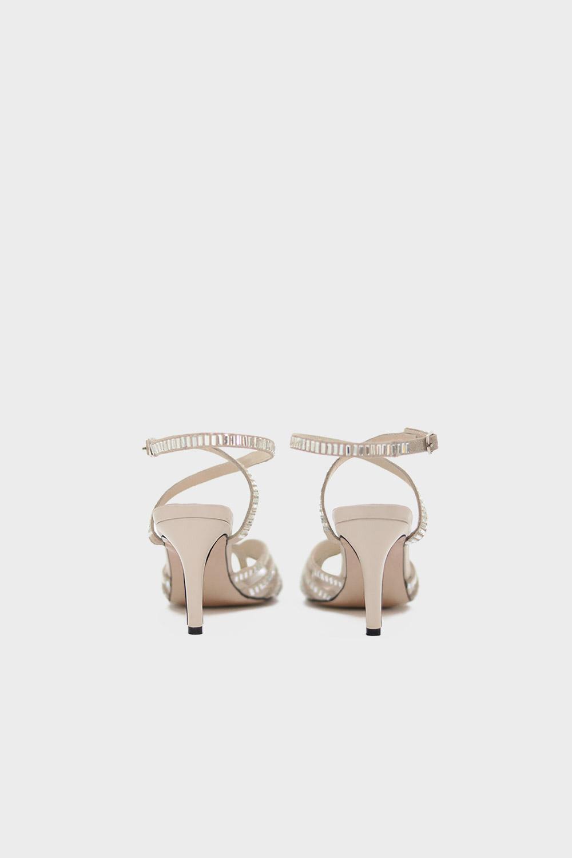 CLARA BAGET TAŞLI Kırık Beyaz Süet -Gümüş Kadın Topuklu