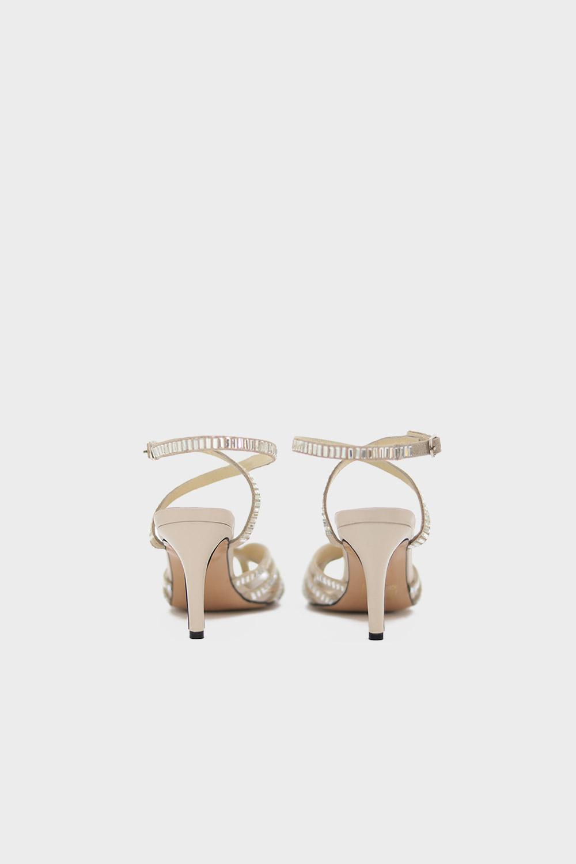 CLARA GERÇEK DERİ BAGET TAŞLI Kırık Beyaz Süet -Gümüş Kadın Topuklu
