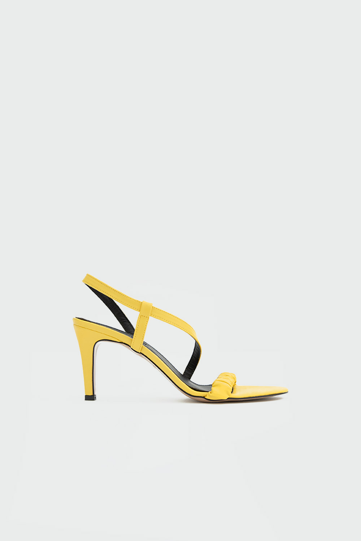 Clay Büzgülü Bantlı Sarı Kadın Topuklu